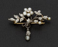 Estate Jewelry:Brooches - Pins, Charming Pearl & Diamond Antique Gold Brooch. ...