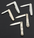 Estate Jewelry:Lots, A Lot Of Five Early Pin Knives. ... (Total: 5 Items)