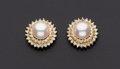 Estate Jewelry:Earrings, Pearl & Diamond Halo Gold Earring. ...