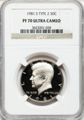 Proof Kennedy Half Dollars: , 1981-S 50C Type Two PR70 Ultra Cameo NGC. NGC Census: (25). PCGSPopulation (31). Numismedia Wsl. Price for problem free N...