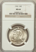 Walking Liberty Half Dollars, 1943 50C MS64 NGC. NGC Census: (3914/7976). PCGS Population(6482/10550). Mintage: 53,190,000. Numismedia Wsl. Price for pr...