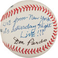 Autographs:Baseballs, Don Pardo Single Signed Baseball(Live From New York It's SaturdayNight Live!)...