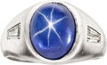 Estate Jewelry:Rings, Gentleman's Star Sapphire, Diamond, Platinum Ring. ...