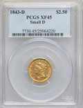 Liberty Quarter Eagles, 1843-D $2 1/2 Small D XF45 PCGS. Variety 4-H (formerly 4-D)....