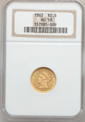 Liberty Quarter Eagles, 1862 $2 1/2 AU58 NGC....
