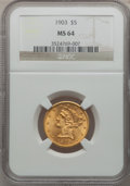 Liberty Half Eagles, 1903 $5 MS64 NGC....