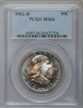 Franklin Half Dollars: , 1963-D 50C MS66 PCGS. PCGS Population (22/0). NGC Census: (70/0).Mintage: 67,069,292. Numismedia Wsl. Price for problem fr...