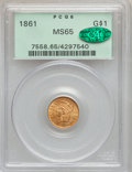 Gold Dollars, 1861 G$1 MS65 PCGS. CAC....