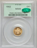 Gold Dollars, 1862 G$1 MS65 PCGS. CAC....