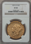 Liberty Double Eagles, 1875-CC $20 XF40 NGC. Variety 4-A....