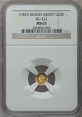 California Fractional Gold, Undated 25C Liberty Round 25 Cents, BG-222, R.2, MS65 NGC....