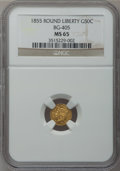 California Fractional Gold, 1855 50C Liberty Round 50 Cents, BG-405, R.5, MS65 NGC....