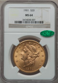 Liberty Double Eagles, 1901 $20 MS64 NGC. CAC....