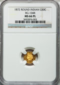 California Fractional Gold, 1872 50C Indian Round 50 Cents, BG-1048, Low R.4, MS66 ProoflikeNGC....