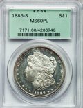 Morgan Dollars: , 1886-S $1 MS60 Prooflike PCGS. PCGS Population (2/231). NGC Census:(0/233). Numismedia Wsl. Price for problem free NGC/PC...