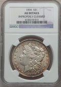 Morgan Dollars: , 1894 $1 -- Improperly Cleaned -- NGC Details. AU. NGC Census:(128/1792). PCGS Population (278/2239). Mintage: 110,972. Num...
