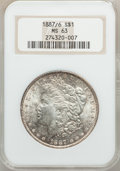 Morgan Dollars: , 1887/6 $1 MS63 NGC. NGC Census: (283/314). PCGS Population(433/502). Numismedia Wsl. Price for problem free NGC/PCGS coin...