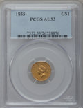 Gold Dollars: , 1855 G$1 AU53 PCGS. PCGS Population (292/2194). NGC Census:(315/4372). Mintage: 758,269. Numismedia Wsl. Price for problem...