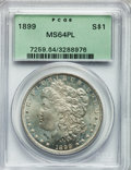Morgan Dollars: , 1899 $1 MS64 Prooflike PCGS. PCGS Population (147/80). NGC Census:(79/21). Numismedia Wsl. Price for problem free NGC/PCG...