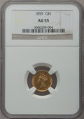 Gold Dollars: , 1859 G$1 AU55 NGC. NGC Census: (22/323). PCGS Population (24/250).Mintage: 168,244. Numismedia Wsl. Price for problem free...
