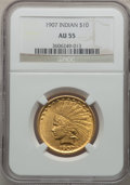 Indian Eagles: , 1907 $10 No Periods AU55 NGC. NGC Census: (118/5903). PCGSPopulation (320/5329). Mintage: 239,400. Numismedia Wsl. Price f...