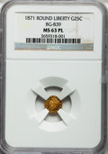 California Fractional Gold: , 1871 25C Liberty Round 25 Cents, BG-839, Low R.4, MS63 ProoflikeNGC. NGC Census: (11/2). ...