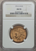 Indian Eagles: , 1912-S $10 AU55 NGC. NGC Census: (187/659). PCGS Population(155/517). Mintage: 300,000. Numismedia Wsl. Price for problem ...