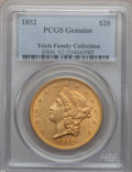 Liberty Double Eagles, 1852 $20 PCGS Genuine. The PCGS number ending in .92 suggestscleaning as the reason, or perhaps one of the reasons, that P...