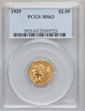 Indian Quarter Eagles: , 1929 $2 1/2 MS63 PCGS. PCGS Population (3667/1639). NGC Census:(5562/2931). Mintage: 532,000. Numismedia Wsl. Price for pr...