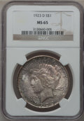 Peace Dollars: , 1923-D $1 MS65 NGC. NGC Census: (235/23). PCGS Population (402/75).Mintage: 6,811,000. Numismedia Wsl. Price for problem f...
