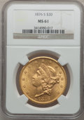 Liberty Double Eagles: , 1876-S $20 MS61 NGC. NGC Census: (879/473). PCGS Population(574/565). Mintage: 1,597,000. Numismedia Wsl. Price for proble...