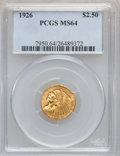 Indian Quarter Eagles: , 1926 $2 1/2 MS64 PCGS. PCGS Population (2497/694). NGC Census:(3451/605). Mintage: 446,000. Numismedia Wsl. Price for prob...