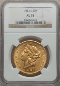 Liberty Double Eagles: , 1882-S $20 AU55 NGC. NGC Census: (66/1153). PCGS Population(121/1005). Mintage: 1,125,000. Numismedia Wsl. Price for probl...
