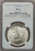 Peace Dollars: , 1925-S $1 MS63 NGC. NGC Census: (1545/1691). PCGS Population(2482/1758). Mintage: 1,610,000. Numismedia Wsl. Price for pro...