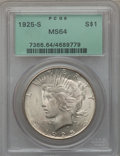Peace Dollars: , 1925-S $1 MS64 PCGS. PCGS Population (1721/37). NGC Census:(1628/63). Mintage: 1,610,000. Numismedia Wsl. Price for proble...