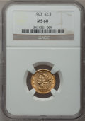 Liberty Quarter Eagles: , 1903 $2 1/2 MS60 NGC. NGC Census: (58/5396). PCGS Population(85/5173). Mintage: 201,000. Numismedia Wsl. Price for problem...