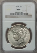 Peace Dollars: , 1928 $1 MS61 NGC. NGC Census: (537/3636). PCGS Population(269/5527). Mintage: 360,649. Numismedia Wsl. Price for problemf...