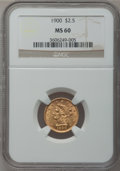 Liberty Quarter Eagles, 1900 $2 1/2 MS60 NGC. NGC Census: (20/1779). PCGS Population(23/1534). Mintage: 67,000. Numismedia Wsl. Price for problem ...