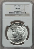 Peace Dollars: , 1934-D $1 MS63 NGC. NGC Census: (1117/1039). PCGS Population(1476/1697). Mintage: 1,569,500. Numismedia Wsl. Price for pro...