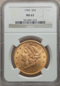 Liberty Double Eagles: , 1900 $20 MS63 NGC. NGC Census: (16297/4781). PCGS Population(10791/4155). Mintage: 1,874,584. Numismedia Wsl. Price for pr...