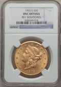 Liberty Double Eagles, 1903-S $20 -- Reverse Scratched -- NGC Details. Unc. NGC Census:(317/5644). PCGS Population (233/4584). Mintage: 954,000. ...