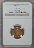 Liberty Quarter Eagles: , 1860-S $2 1/2 XF40 NGC. NGC Census: (6/90). PCGS Population (6/54).Mintage: 35,600. Numismedia Wsl. Price for problem free...