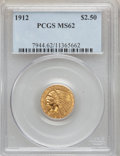 Indian Quarter Eagles: , 1912 $2 1/2 MS62 PCGS. PCGS Population (1055/1276). NGC Census:(2457/1762). Mintage: 616,000. Numismedia Wsl. Price for pr...
