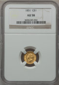Gold Dollars: , 1851 G$1 AU58 NGC. NGC Census: (522/3335). PCGS Population(358/1728). Mintage: 3,317,671. Numismedia Wsl. Price for proble...