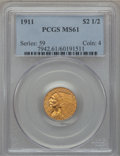 Indian Quarter Eagles: , 1911 $2 1/2 MS61 PCGS. PCGS Population (688/3659). NGC Census:(2619/7041). Mintage: 704,000. Numismedia Wsl. Price for pro...