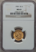Liberty Quarter Eagles: , 1905 $2 1/2 MS63 NGC. NGC Census: (1274/2489). PCGS Population(1555/2172). Mintage: 217,800. Numismedia Wsl. Price for pro...