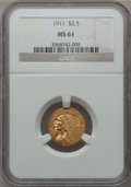 Indian Quarter Eagles: , 1911 $2 1/2 MS61 NGC. NGC Census: (2617/7036). PCGS Population(687/3665). Mintage: 704,000. Numismedia Wsl. Price for prob...