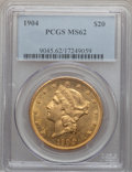 Liberty Double Eagles: , 1904 $20 MS62 PCGS. PCGS Population (55291/88455). NGC Census:(69491/112552). Mintage: 6,256,797. Numismedia Wsl. Price fo...