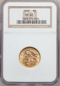 Liberty Half Eagles: , 1895 $5 MS62 NGC. NGC Census: (2548/1893). PCGS Population(1073/768). Mintage: 1,345,936. Numismedia Wsl. Price for proble...