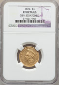 Three Dollar Gold Pieces, 1874 $3 -- Obverse Scratched -- NGC Details. XF. NGC Census:(32/2509). PCGS Population (48/2040). Mintage: 41,800. Numisme...